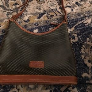 Dooney Bourke tan green leather purse